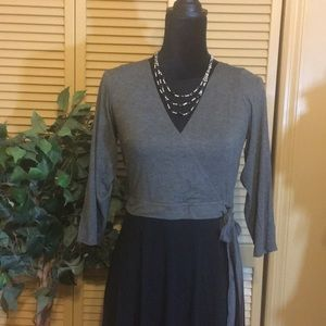 💋Anthropologie Grey and Black Faux Wrap Dress